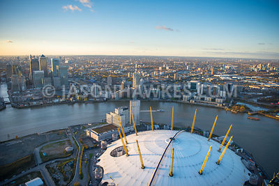 Aerial view of the O2, Greenwich peninsula, London.