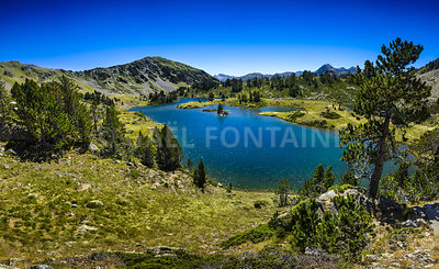 Panoramic view of Lac de Bastan at Saint Lary Soulan