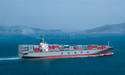 Cosco container ship, San Francisco Bay, California. October 2007.