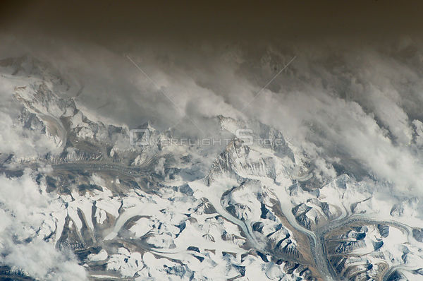 TIBET / NEPAL Mount Everest -- 15 May 2005 -- This photograph taken from the International Space Station shows the north face...