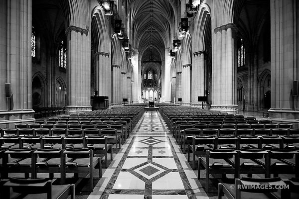 WASHINGTON NATIONAL CATHEDRAL INTERIOR WASHINGTON DC BLACK AND WHITE
