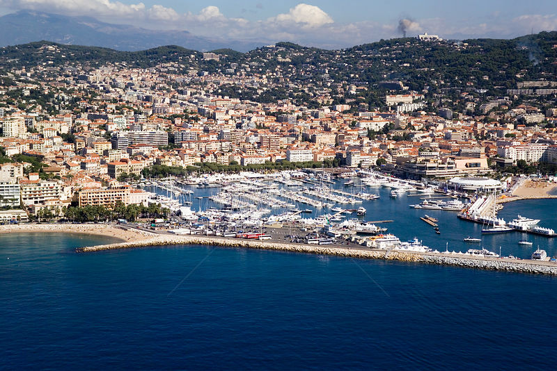 Aerial view of Cannes Harbour, France.