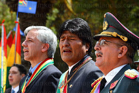 Bolivian president Evo Morales Ayma (centre) sings the national anthem at start of official events for Dia del Mar / Day of t...