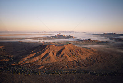 Aerial view of volcanic cinder cone of Cerro Colorado at dawn, Biosphere Reserve of Pinacate and Gran Desierto Altar, Sonora,...