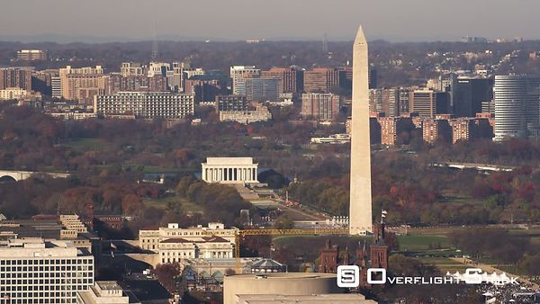 Over National Mall, Passing Washington Monument With Lincoln Memorial in Distance  Arlington, Virginia in Background.