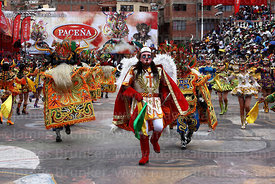 Archangel Michael leading devils during the Diablada dance, Oruro Carnival, Bolivia