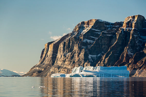 Typical nearly vertical cliffs around the Uummannaq fjord in Greenland