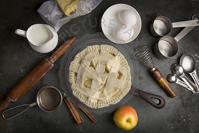 Not baked apple pie with Ingredients for baking