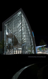 Virginia Beach Convention Center exterior on a rainy night