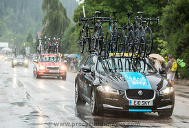 Sky Team's Technical Car Driving in the Rain - Tour de France 2014