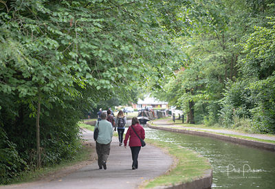 People enjoying the cooler weather on the Llangollen Canal and the Pontcysyllte Aqueduct  Nr Wrexham, Wales.