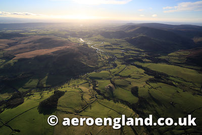 aerial photograph of the River Hodder  Lancashire England
