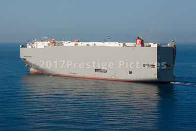 Oregon Highway Vehicle Carrier on a Blue Mediterranean Sea