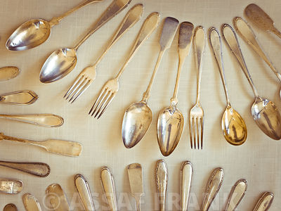 Old fashioned silver spoons and forks
