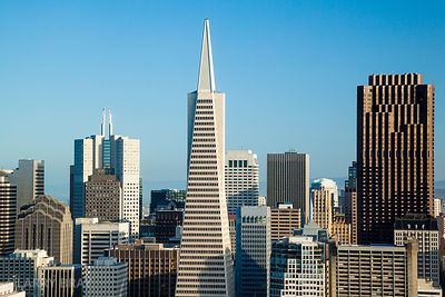 City buildings including the Transamerica pyramid building in San Francisco, California, USA