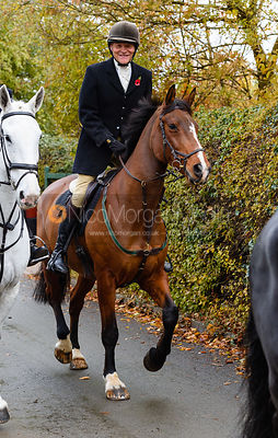 Charlie Smith leaving the meet. The Cottesmore Hunt at Braunston