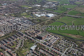 Bury aerial photograph of Alfred Street and Pilot Mill looking towards Waterfold Business Park and  Junction 2 the M66 motorway