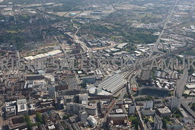 Manchester high level aerial photograph looking from Piccadilly Railway Station towards Sport City and Eastlands