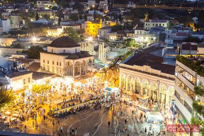 Elevated view of famous Monastiraki square at night, Athens, Greece