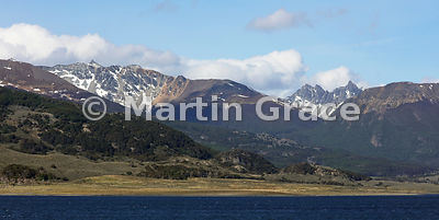 2:1 landscape format mountains and Nothofagus forest of Tierra del Fuego north of the Beagle Channel, Tierra del Fuego, Argen...