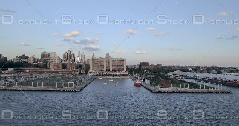 Approaching Harbor With Sailboats and Brooklyn Bridge Park Piers New York