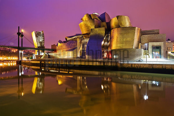 Guggenheim Museum at Dawn by Frank Gehry Bilbao Spain