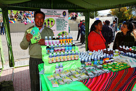 Stall selling medicines at trade fair promoting alternative products made from coca leaves , La Paz , Bolivia