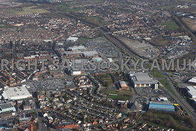Widnes aerial photograph from the south showing the retail shopping centres of  Ashley retail park and Widnes shopping park