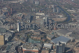 High level view looking from the Printworks towards 101 Embankment and West Tower development and the Greengate development a...
