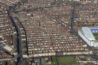 aerial photograph of Terraced Houses in the Everton   district of  Liverpool Merseyside England UK
