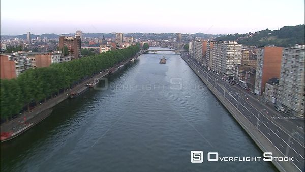 Following the Meuse (Maas) River through city of Liege, Belgium