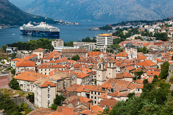 Viw of the Old Town of Kotor and a Cruise Ship Moored in the Bay