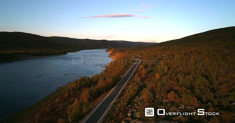 Mountain Road, Aerial View Over Road 970 the Tenontie, Near Tenojoki River, at the Border Between Norway and Utsjoki Town, on...