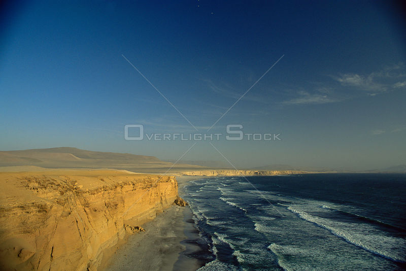 Aerial view of rugged coastline of Atacama desert near Antofagasta, Chile, South America