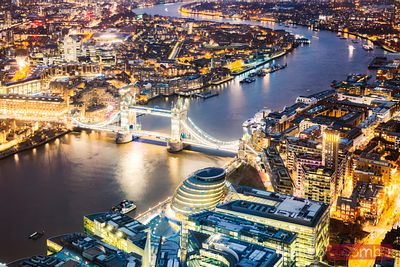 Elevated view of Tower bridge at dusk, London, United Kingdom