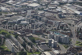 Leeds aerial photograph looking across Marsh Lane towards The Royal Armouries Museum and Clarence Dock Complex