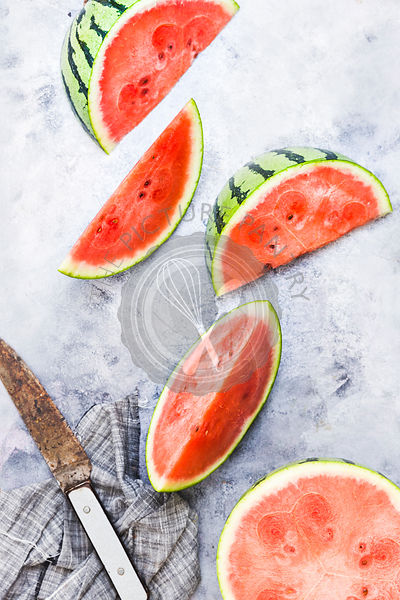 Watermelons, chopped