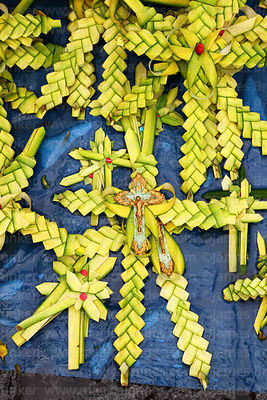 Crosses made out of palm leaves for sale on Palm Sunday, La Paz, Bolivia