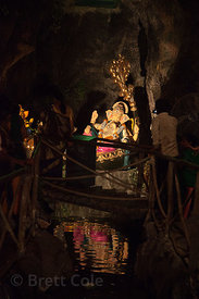 Ganesh idol in a pandal designed like a tropical cave, in the Shekwalhi neghborhood of Mumbai, India.