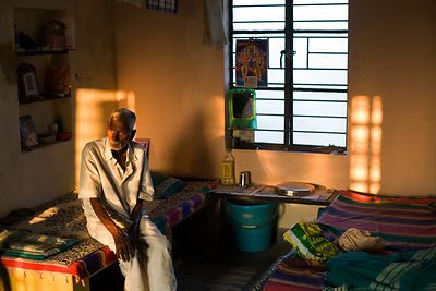 India - Cuddalore - Manjani in his room at the Tamaraikulum Elders's Village