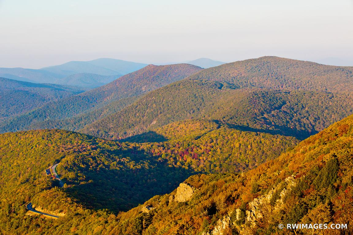 SKYLINE DRIVE FROM STONY MAN MOUNTAIN SHENANDOAH NATIONAL PARK VIRGINIA COLOR FALL AUTUMN