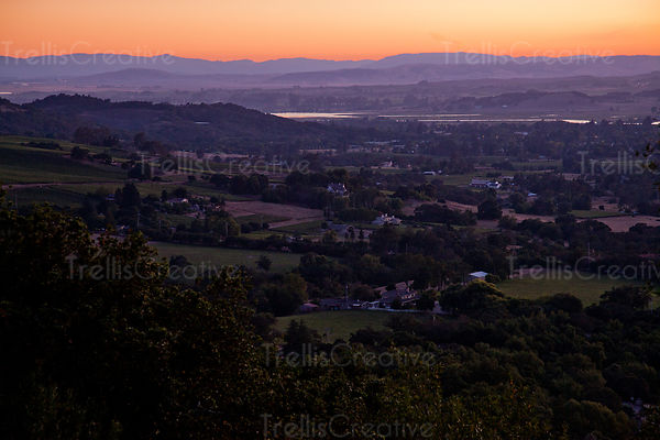 Moody sunset in the Napa Valley viewed from Wild Horse Valley AVA