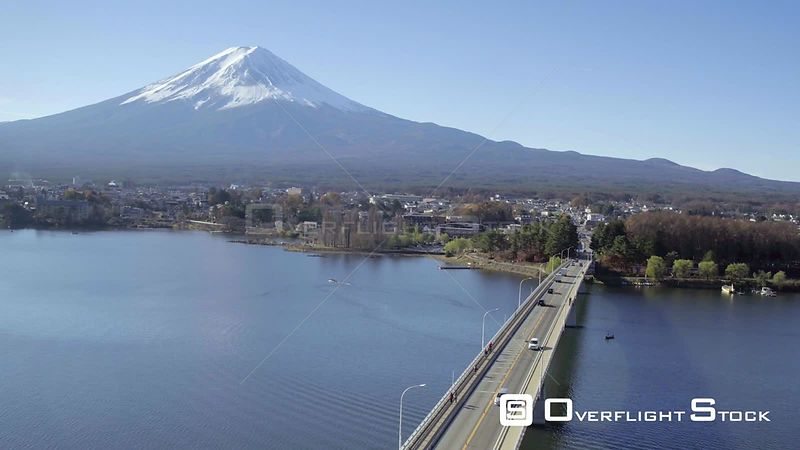 Aerial shot tracking over Kawaguchi Lake, with the Mount Fuji in the background, Honshu Island, Japan, November 2017.
