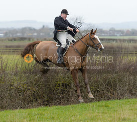 Martin Willcox jumping a hedge at Sheepwash - The Belvoir at Mount Pleasant