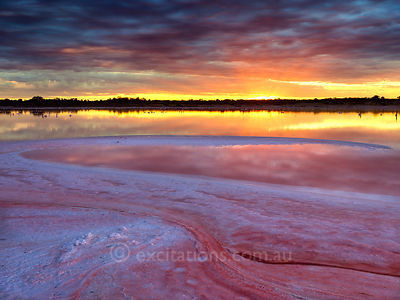 Sunset, salt lake, Merbein West, Victoria, Australia