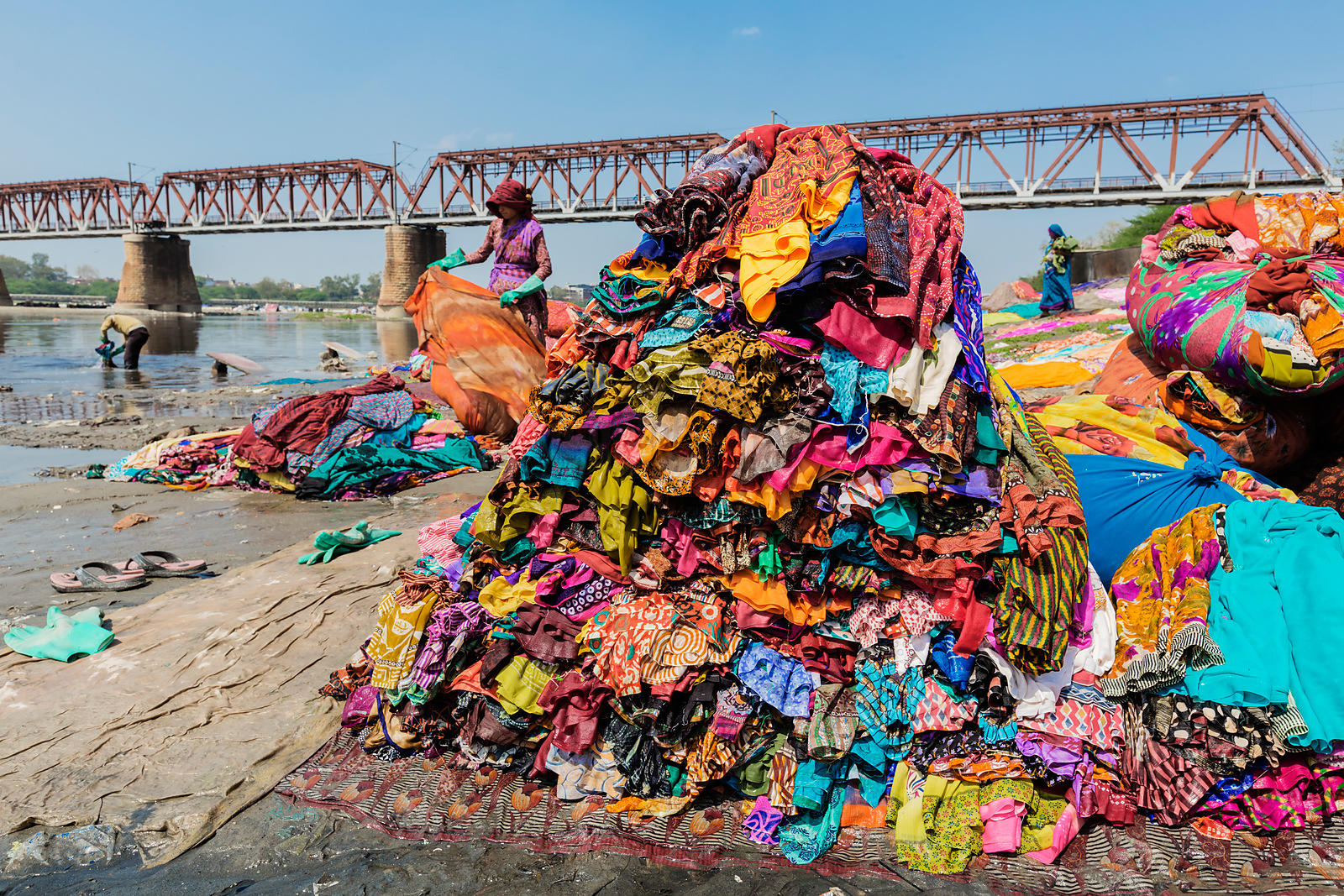 Saris after being Washed at the Dhobi Ghat on the Bank of the Yamuna River