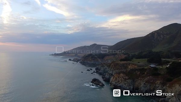 Seventeen Mile Panorama Big Sur Coastline Drone Video California USA