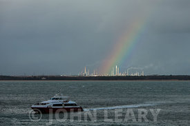 Rainbow over the Fawley Refinery.