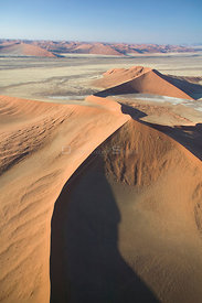 Aerial view of star sand dunes in Sossusvlei, Namibia