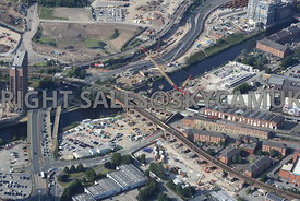 Civil engineering and construction work taking place in the area of the old Princes Bridge and railway viaducts  by Network Rail